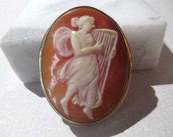 Full Body Cameo Lady Playing Harp Pendant As-Is Carved Vintage Signed