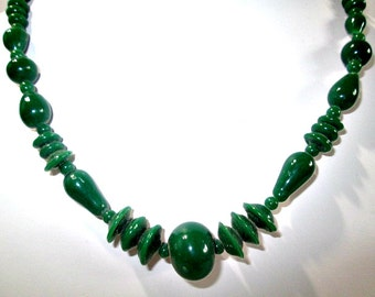 Green Gemstone Necklace Pretty Vintage Broken Clasp Need Re-string