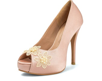 Daisy Nude Wedding Shoes Peach Bridal Heels Blush