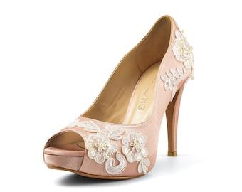 Aloha Nude Wedding Shoe, Peach Lace Bridal Heel, Peach Satin Bridal Shoe, Peach Lace Platform Pumps, Lace Wedding Shoes