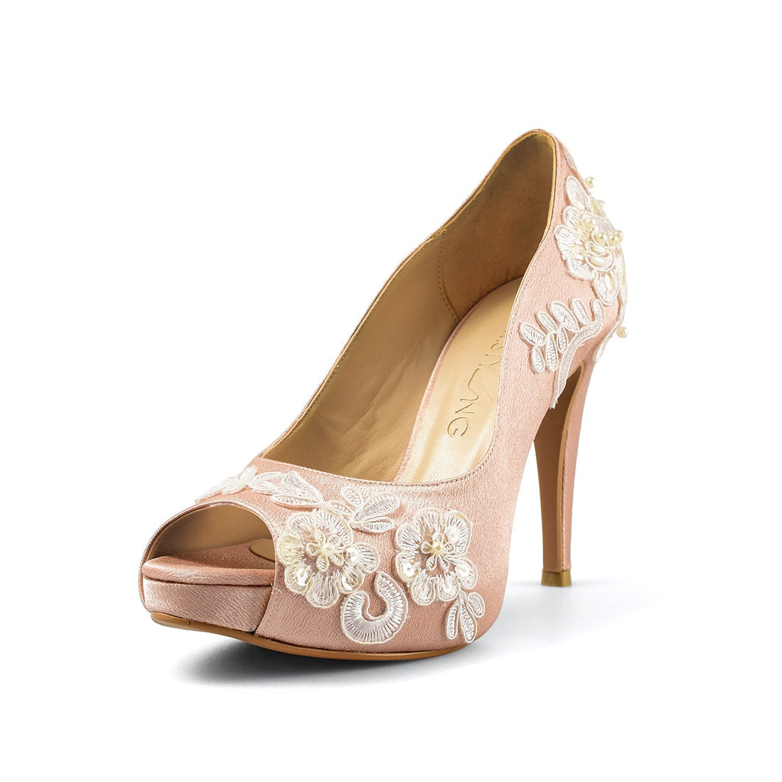 peach wedding shoes aloha wedding shoe lace bridal heel satin 6411