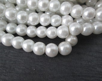 8mm Shiny Pearl Beads, White Glass Pearl Beads, 100pcs Glass Pearl Beads, Glass Beads