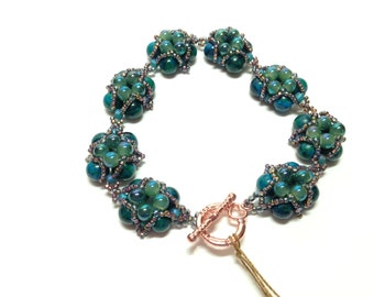 Gemstone and Glass bead woven bracelet