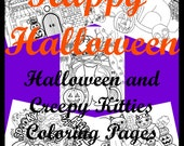 Halloween and Creepy Kitties Digital Coloring Pages Original Art by Mariya Kovalyov