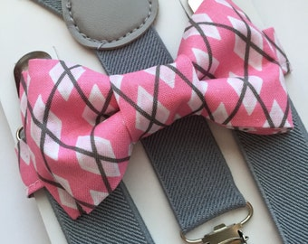 Kids Grey Suspenders. Pink/Gray Argyle Bow Tie Set!