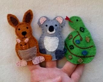 Finger Puppet Australian Animals, Koala, Kangaroo, Snake Puppets, Felt animals, Felt puppets