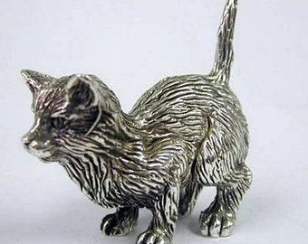 Silver crouching cat figurine - Miniature - Silver - Sculpture - Animals