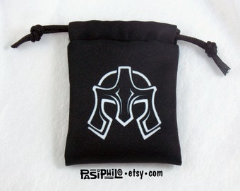 Fighter Fantasy RPG Mini Drawstring Dice Pouch, White Symbol on Black
