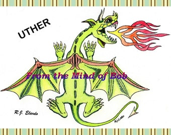 Uther Dragon  --  Original Artwork  --  Colored Print  --  Wall Decor