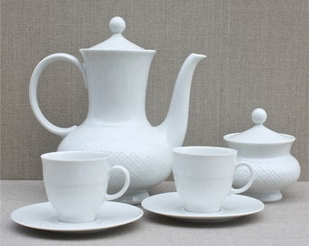 fine porcelain vintage German coffee set, Seltmann Weiden Bavaria, Annabelle, 1950's home, coffee pot and cups, white china, wedding gift