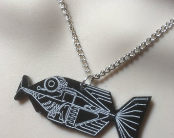 hitch hikers guide to the universe..BABEL FISH...necklace