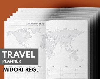 Travel Planner Printable, Travel Journal, Vacation Planner, Midori Insert, Midori Refill, Travel Itinerary, Midori Traveler's Notebook