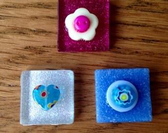 Handmade glass fridge magnets