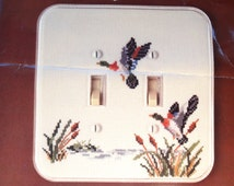 Fond Memories Counted Cross Stitch Mallard Duck Switchplate / Double Ducks / Opened