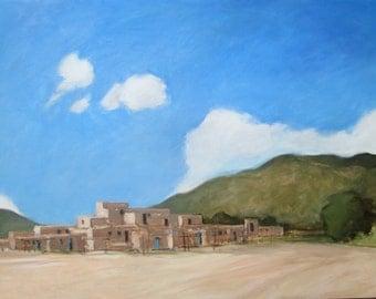 Original oil of Taos Pueblo #4 - 18x24 - Landscape