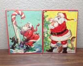 2 1947 Whitman Santa Puzzles, Mid Century Christmas Puzzles, Santa Xmas Puzzles