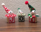 Set of 3 Vintage Hand Crafted Wooden Ornaments, Wood Ornaments, Jack In The Box Ornaments