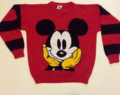 Vintage 1990's Disney  RED MICKEY MOUSE over-sized sweater top shirt pull over jumper