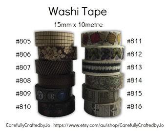 Washi Tape - Brown - 15mm x 10 metres - High Quality Masking Tape