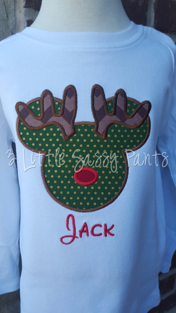 Mickey Mouse Reindeer Embroidered Shirt Mickey Applique