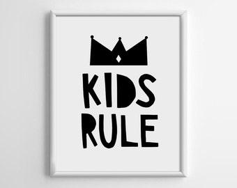 Scandinavian Print, Kids Rule Printable Art, Black and White, Nursery Art Download, Nursery Wall Decor, Playroom Decor, Nursery Decor, B004