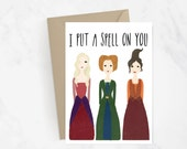 I Put A Spell On You Greeting Card | Halloween Card | Fall Card | Hocus Pocus | Witches | Holiday Card | Hand Painted Card