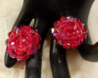 Vintage Red AB Crystal Bead Cluster Earrings