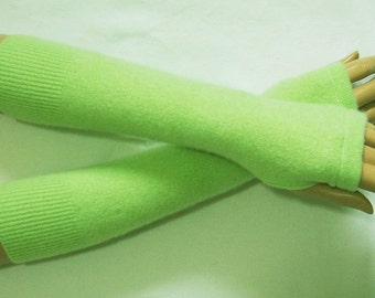 Winter,Cashmere,Long,Lime-Green color,Hipiie,Boho,Soft Fingerless Gloves, with Thumb Holes. IDEAL for HER