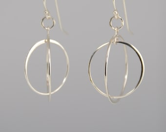Silver hoop earrings. Silver circle earrings. Sterling silver circle earrings