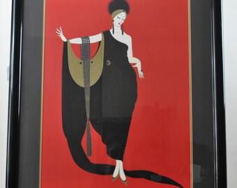 Erte Glamour Art Deco Lithograph Print Framed Gold Foil Embellishment 33x41in