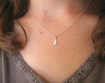 Tiny Leaf Necklace, Sterling Silver Leaf Necklace, Silver Minimalist Necklace, Silver Leaf Charm, Woodland Necklace - Sterling Silver Chain