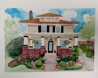 Custom Original Watercolor House Painting, Custom House Portrait