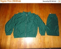 FREE SHIPPING Bonus Jogging Suit Vintage 80s womens Money GREEN Windbreaker Jacket Pants sz Small