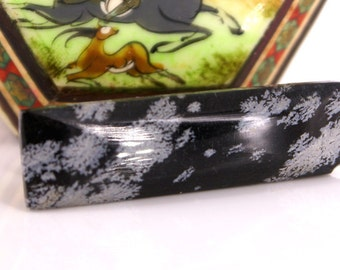 """polished Piece of Snowflake Obsidian. (""""Volcanic Glass"""")tie bar with gold hardware. Black and gray abstract design"""