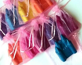 Castle crayons in organza bags - set of 10- princess party favors, princess crayons, princess birthday party, princess theme birthday favors