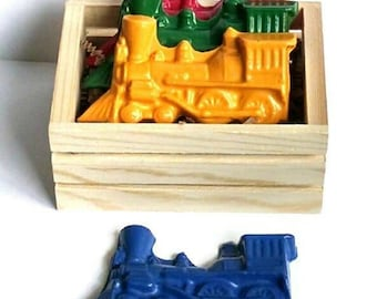 Train crayons gift set, train birthday gift, gift for train lovers, train birthday party, steam engine gift, train toy kids, freight train
