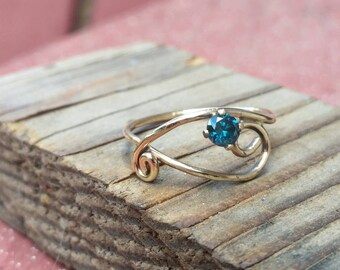 14k gold and Blue diamond ring.  Conflict free diamond ring.  Blue diamond ring.  14k gold engagement ring. Engagement ring. Unique.  Ooak.