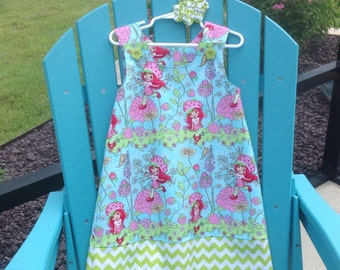 Strawberry Shortcake Dress with coordinating Lime Green Chevron Band, (infant, baby, girl, toddler,child) with matching hair accessory.