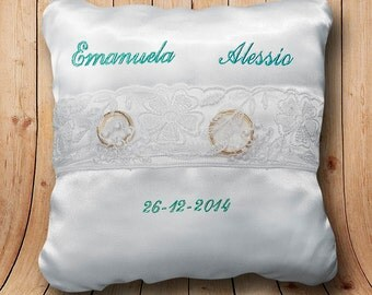 Personalized wedding ring cushion pad Cushion pillow satin embroidered custom bride and groom names, wedding date pick color