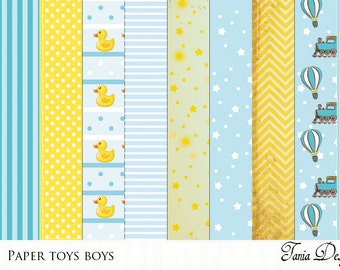 Paper Toys Boys-paper pack 12x12- set of 10 image Digital Paper for Scrapbooking, Cards, Invites, Photographers Marketing Kits Tools, Crafts