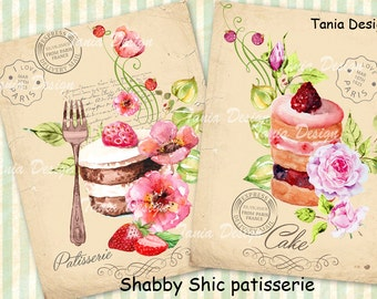 Shabby Chic Patisserie - 2 image - Large Images - Backgrounds - 8,5x11 inch - Digital Prints to print on Tote Bags, t-shirts etc