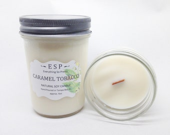 Caramel & Tobacco wood wick, natural soy candle in glass jelly jar with lid 6oz