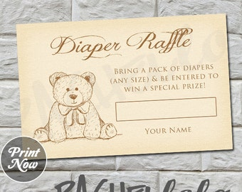 Teddy Bear Diaper Raffle, Baby Shower, INSTANT DOWNLOAD