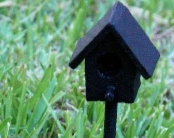 Black Birdhouse Miniature Fairy Garden Landscape Flower Pot Accessory