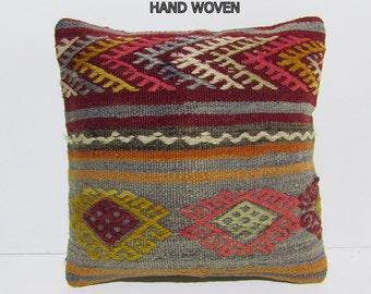 Preppy Kilim Pillow Pattern Pillow Handmade By