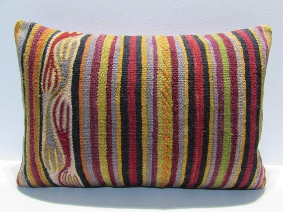 Kilim Pillow Online 16x24 Red Decorative Pillow Orange Throw
