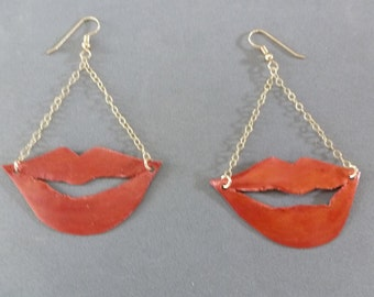 Red My Lips Earrings are my handcut and patinaed bronze smoochy statements swinging from gold chain and French hooks - just sayin'