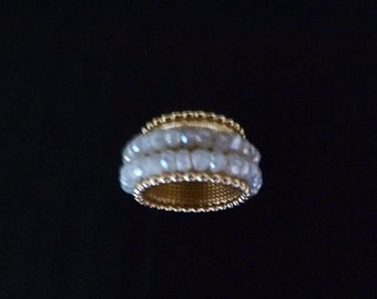 White sapphires spinning on a wide textured and beaded gold band in two strands - sparkle plenty!
