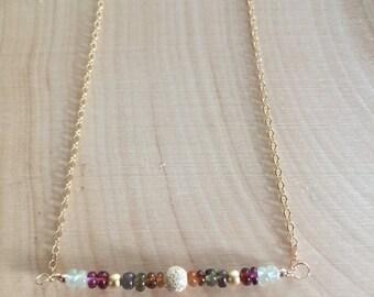 Sapphire Gemstone Necklace, 14k Gold Filled Stardust Bar Necklace, Tundra Sapphire, 14k Gold Filled Layer Necklace
