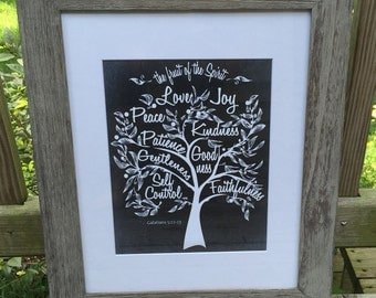 Fruit of Spirit Galatians 5:22 Tree with Fruit Peace Love Joy scripture 11 x 14 Home Decor